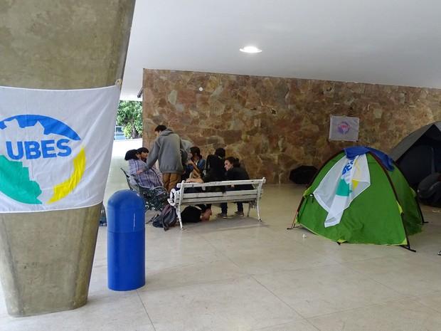 Estudantes ocupam Estadual Central contra reforma do ensino médio (Foto: Raquel Freitas/G1)