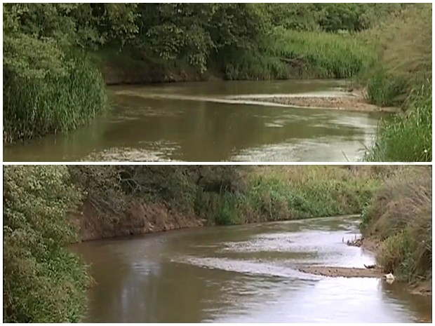 Compare trecho do rio em janeiro, acima, e em março, abaixo (Foto: Reprodução/ TV TEM)