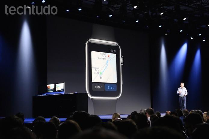 O novo Apple Maps também funcionará com o Apple Watch (Foto: Fabrício Vitorino/TechTudo)