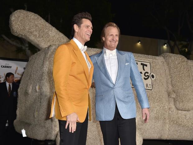 Jim Carrey e Jeff Daniels em première em Los Angeles, nos Estados Unidos (Foto: Kevin Winter/ Getty Images/ AFP)