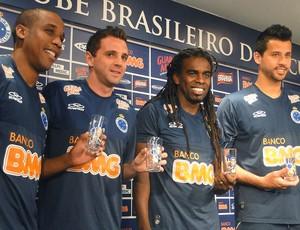 Borges, Montillo, TInga e Fábio jogadores Cruzeiro copo (Foto: Tarciso Badaró / Globoesporte.com)