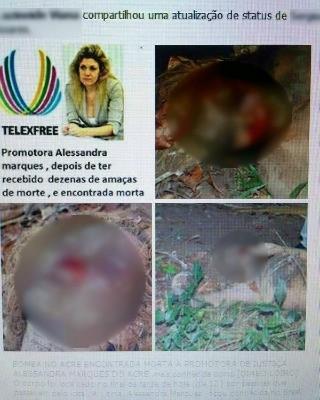 Imagem diz que promotora do caso Telexfree foi encontrada morta (Foto: Reprodução/Facebook)