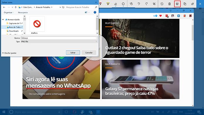 Usuário pode salvar ou compartilhar captura de tela feita com Windows Ink (Foto: Reprodução/Elson de Souza)