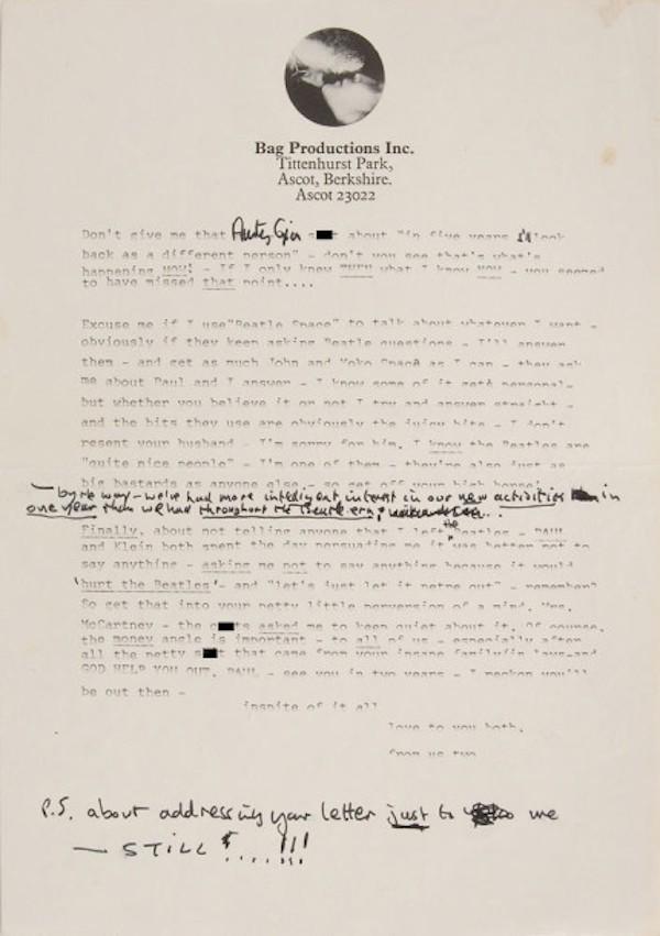 Uma página da carta de John Lennon a Paul McCartney (Foto: Reprodução)