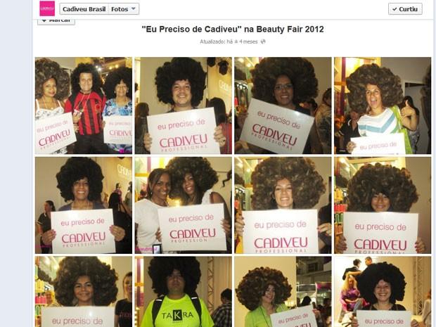 Cadiveu publicou no Facebook fotos de ação de marketing feita durante feira em São Paulo (Foto: Reprodução)