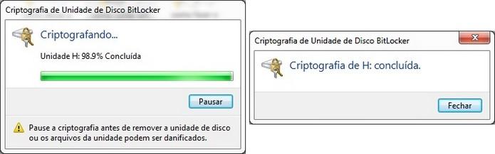 Janelas durante e ao final da criptografia do pen drive com BitLocker (Foto: Reprodução/Raquel Freire)