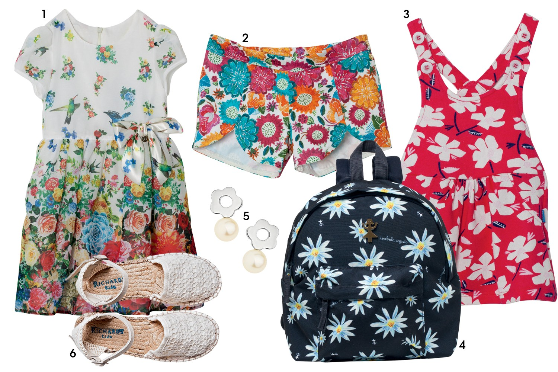 (1) Vestido 1+1, R$ 279; (2) short Alakazoo, R$ 123; (3) vestido Hering Kids, R$ 70; (4) mochila Isabela Capeto para C&A, R$ 70; (5) brincos Talento, R$ 930; (6) sandália Richard Kids, R$ 219 (Foto: Reprodução/Vogue Brasil)