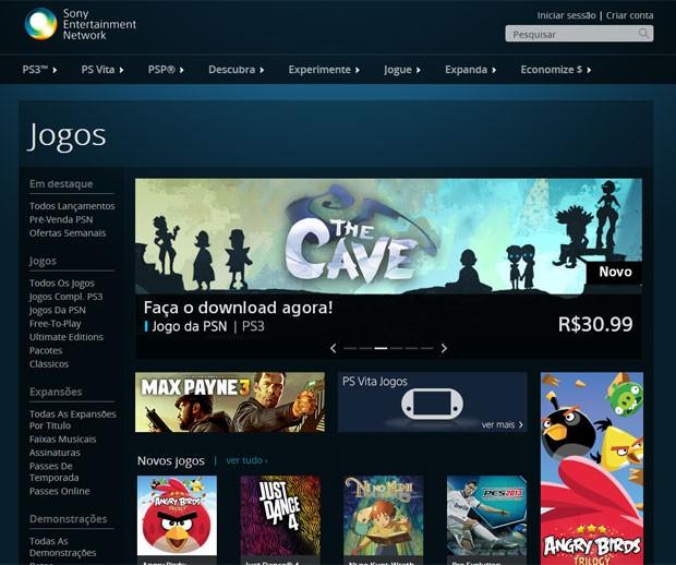Versão para a web da PlayStation Store, loja de games em versão digital para o PS3 e PS Vita (Foto: Reprodução)