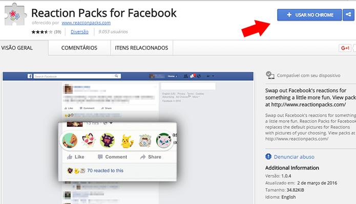 Instale a extensão Reaction Packs for Facebook no Chrome (Foto: Reprodução/Paulo Alves)