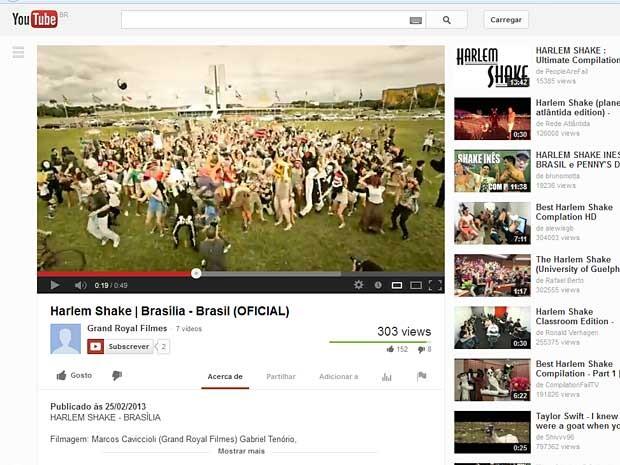 Reprodução da página do Youtube com trecho do 'Harlem Shake' gravado em Brasília no último domingo (24) (Foto: Reprodução)