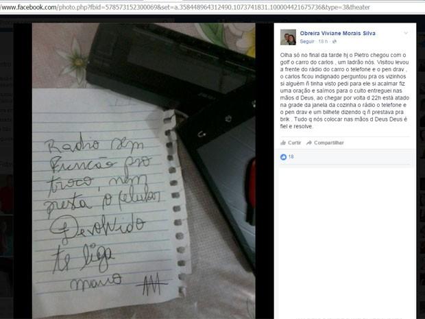Após incidente, moradora de casa relatou situação no Facebook (Foto: Reprodução/Facebook)
