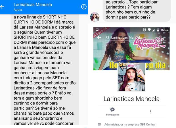 133953ec47d56 Conversa sobre promoção falsa de Larissa Manoela no facebook (Foto   Reprodução ...
