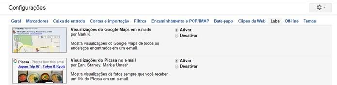 Gmail Labs tem várias funções que oferecem prévia de serviços do Google (Foto: Reprodução/Raquel Freire)