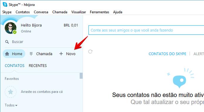 """Clique no botão """"Novo"""" (Foto: Reprodução/Helito Bijora)  (Foto: Clique no botão """"Novo"""" (Foto: Reprodução/Helito Bijora) )"""