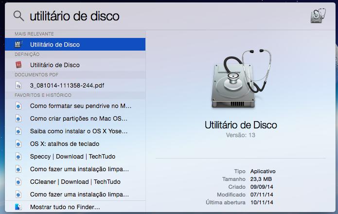 Abra o utilitário de discos do OS X (Foto: Reprodução/Helito Bijora)