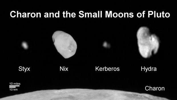 Charon (embaixo) é o maior satélite de Plutão, com 1.212 km de diâmetro  (Foto: Nasa/Divulgação)