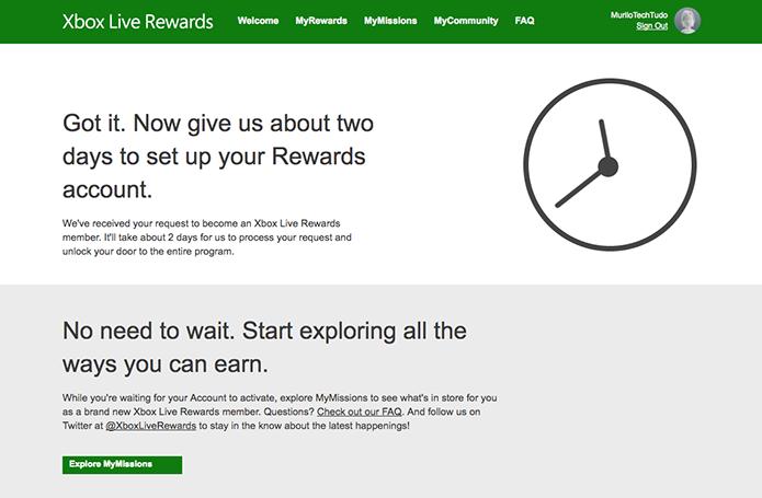 Sua inscrição no Xbox Live Rewards será aprovada em alguns momentos (Foto: Reprodução/Murilo Molina)