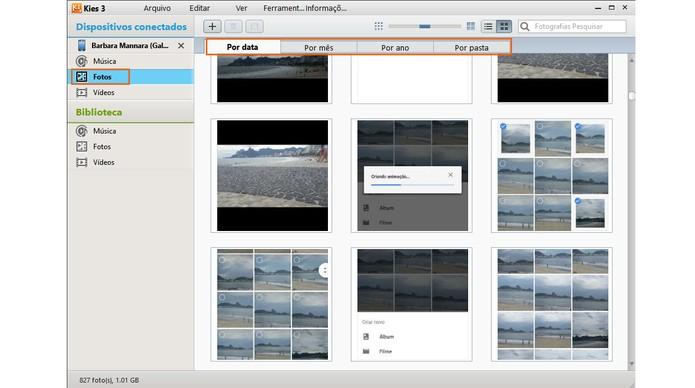 Opções para visualizar e salvar as fotos do celular no PC (Foto: Reprodução/Barbara Mannara)