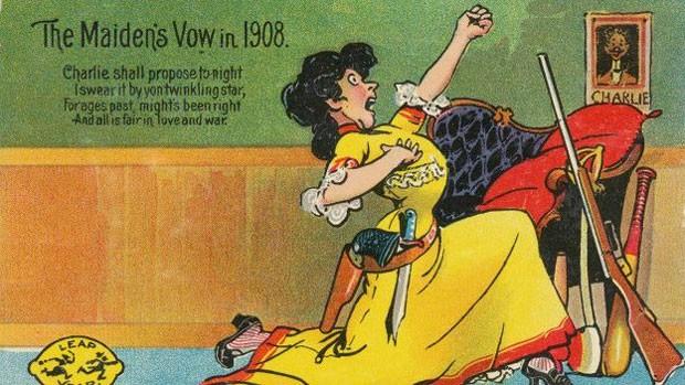 No séc. 19, mulheres eram incentivadas a fazer pedidos de casamento com cartões postais (Foto: BBC)