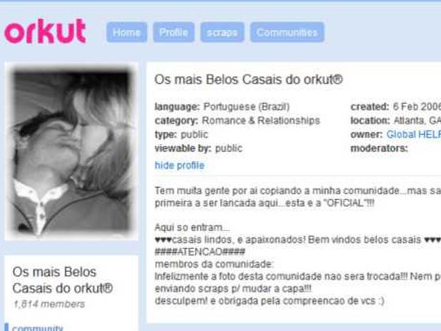 Diversas comunidades celebram os relacionamentos que começaram no Orkut (Foto: Reprodução/Orkut)