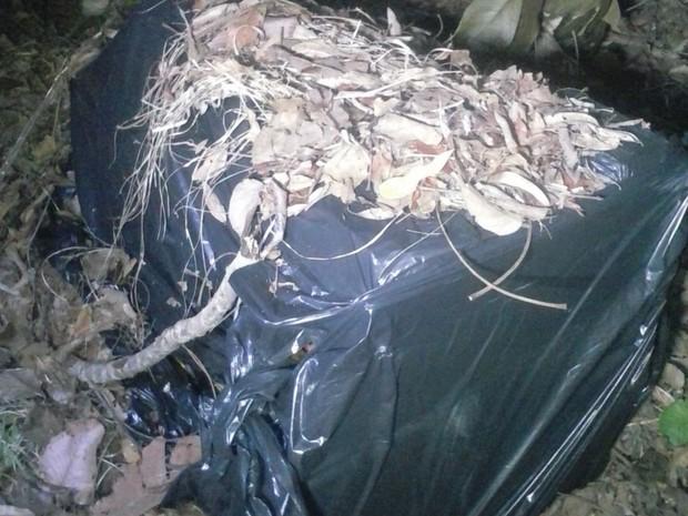 Baterias foram enterradas em uma estrada vicinal às margens da BR-153 (Foto: Divulgação/PM TO)