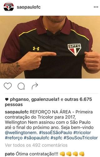 Pato elogia contratação de Wellington Nem no São Paulo (Foto: reprodução)