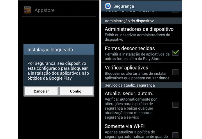 É preciso autorizar instalação do arquivo apk (Foto: Thiago Barros/Reprodução)