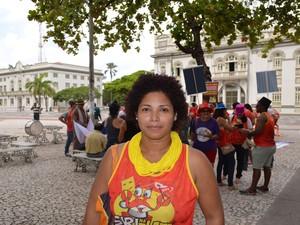 Caroline Santos , diretora de comunicação da CUT Sergipe (Foto: Tássio Andrade/G1)