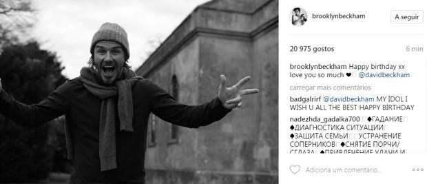 Brooklyn Beckham parabeniza David Beckham pelos 42 anos (Foto: Reprodução)