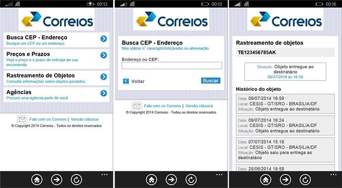 Correios Mobile é um aplicativo para Windows Phone onde é possível pesquisar CEP, endereços e rastrear encomendas (Foto: Divulgação/Windows Phone Store)