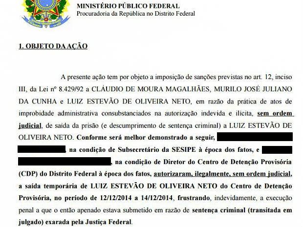 Trecho da ação ajuizada pelo MPF contra o ex-senador Luiz Estevão e gestores do sistema penitenciário do DF (Foto: MPF/Reprodução)