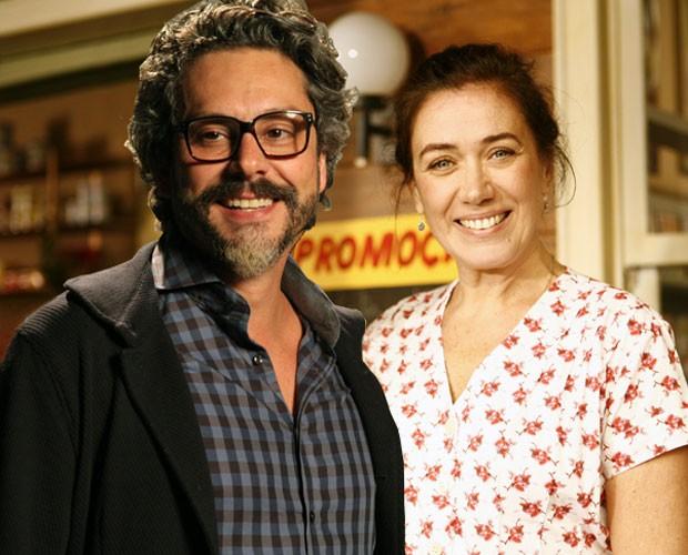Alexandre Nero de 2014 com a Lilia Cabral de 2009 (Foto: Fabrício Mota/TV Globo e Raphael Dias/TV Globo)
