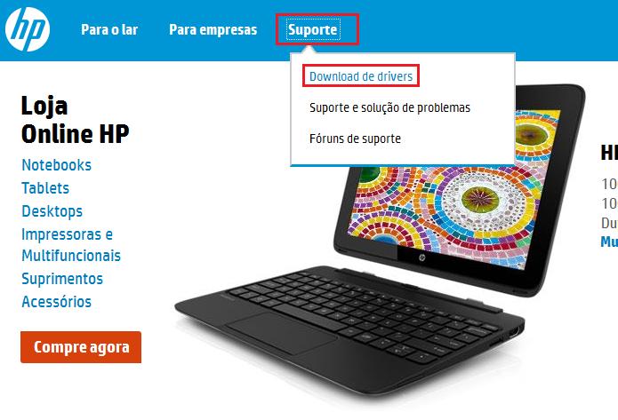 Acessando a área de suporte do site da HP (Foto: Reprodução/Edivaldo Brito)