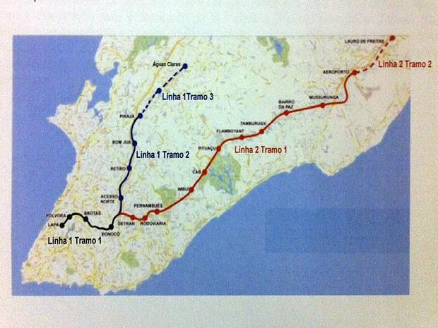 Mapa mostra como ficarão as linhas após a conclusão das obras (Foto: Reprodução / CCR)