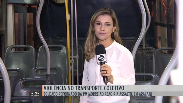 Priscilla Bitencourt faz reportagem para o Hora 1 (Foto: Divulgação / TV Sergipe)