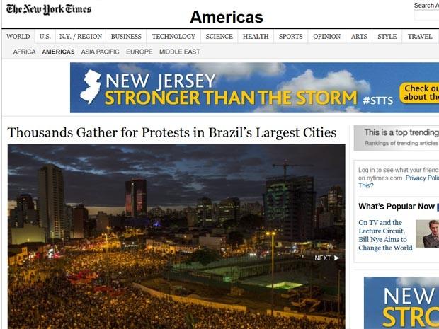New York Times repercute protestos no Brasil (Foto: Reprodução/ New York Times)