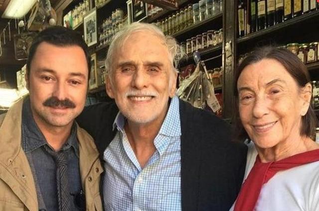 Emilio Orciollo Netto, Francisco Cuoco e a preparadora de elenco Rossella Terranova (Foto: Arquivo pessoal)