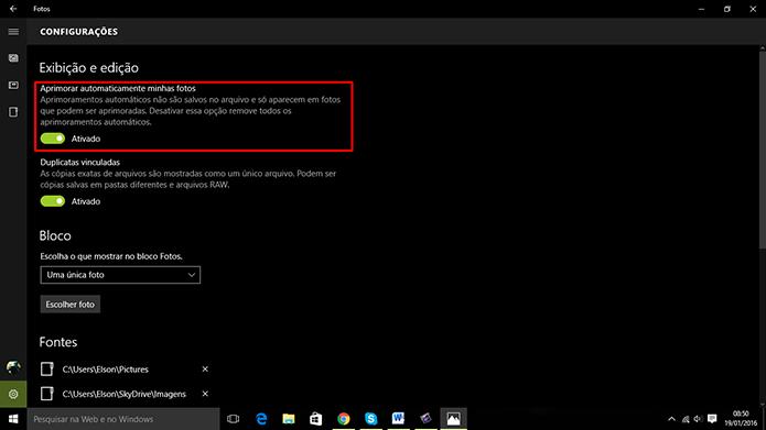 Windows 10 pode fazer melhorias automatica em imagens através de app de Fotos (Foto: Reprodução/Elson de Souza)
