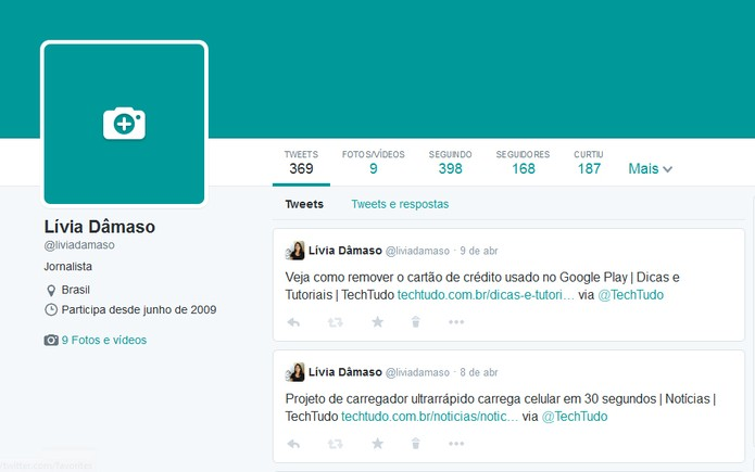 Edite a sua foto de capa no novo layout do Twitter (Foto: Reprodução/Lívia Dâmaso)
