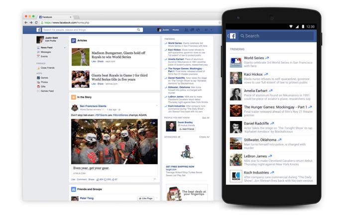Novo Trending do Facebook organiza notícias em categorias na web e no celular (Foto: Divulgação)