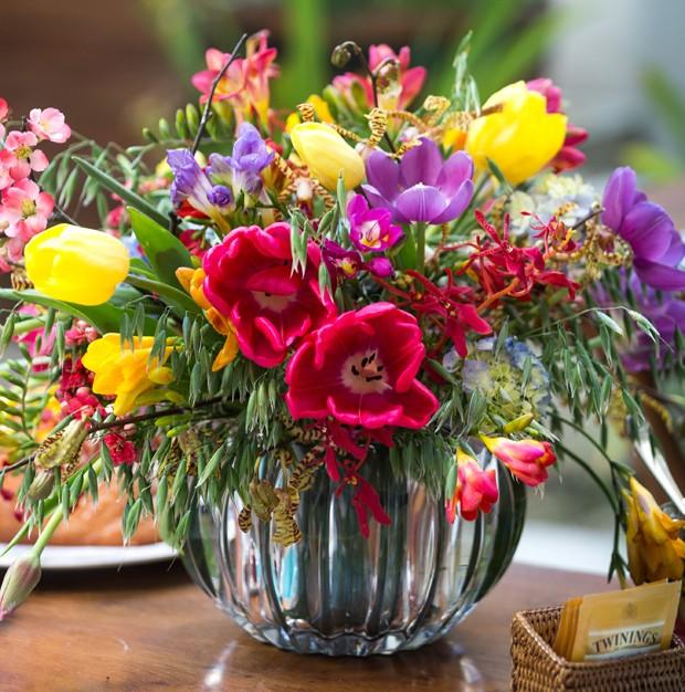 Abuse das flores na recepção (Foto: Vamos Receber)