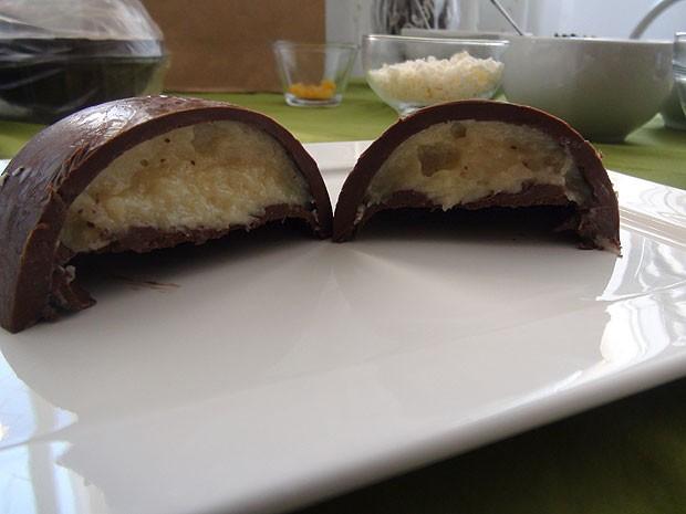 Ovos de chocolate sabor prestígio (Foto: Ruan Melo/ G1)