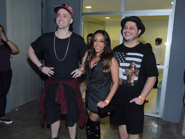 Paulo Gustavo, Samantha Schmütz e Marcus Majella em show na Zona Oeste do Rio (Foto: Anderson Borde e Marcello Sá Barretto/ Ag. News)