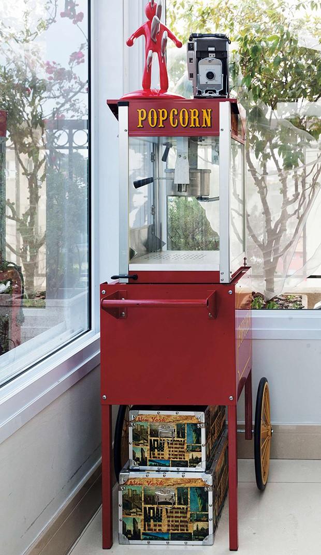 A pipoqueira foi comprada em NY. A geladeira  amarela combina com os demais objetos  (Foto:  A pipoqueira foi comprada em NY. A geladeira  amarela combina com os demais objetos )