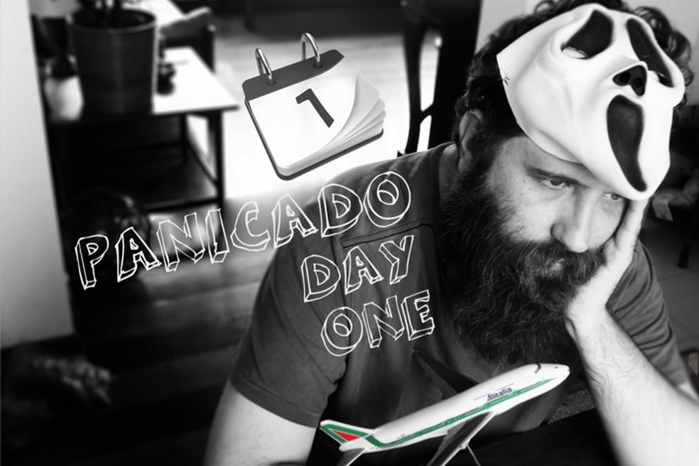 Salvatore fez uma montagem no post de seu site em que conta quando começou o medo de voar (Foto: Arquivo pessoal/Salvatore Carrozzo)