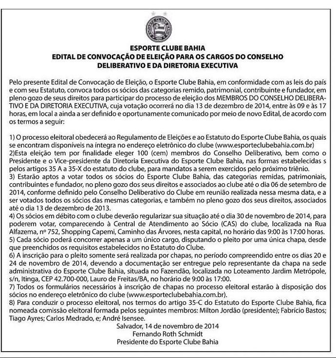 Edital de convocação eleição do Bahia (Foto: Divulgação/EC Bahia)