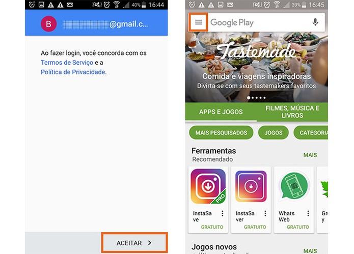 Aceite os termos do Google e abra o app da Play Store (Foto: Reprodução/Barbara Mannara)