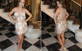 Jéssica ousa com vestido decotado, transparente e curtinho