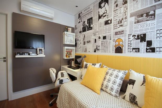 Cores e texturas têm resultado sofisticado Casa Vogue  ~ Quarto Solteiro Compacto
