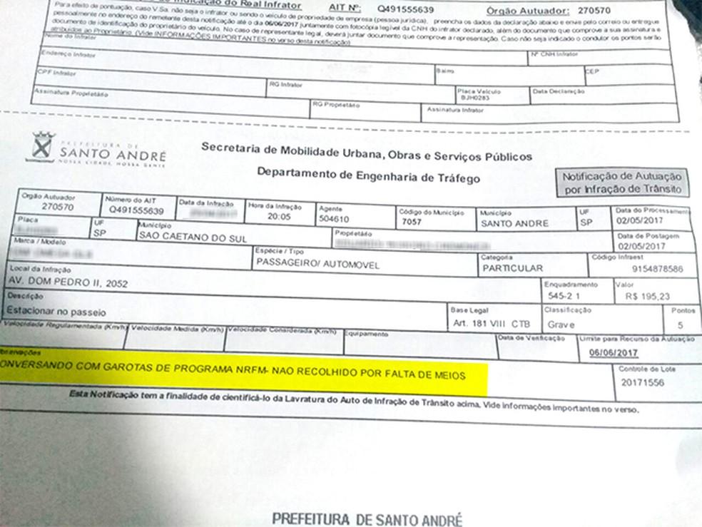 Multa cita conversas com garotas de programa em campo de observação; o G1 borrou dados pessoais do proprietário do veículo para evitar sua identificação (Foto: Reprodução)